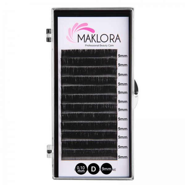 Maklora İpek Kirpik   D Kıvrım 0.10 Kalınlık  9mm uzunluk 12 Sıra