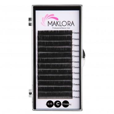 Maklora İpek Kirpik C Kıvrım 0.15 Kalınlık 11mm Uzunluk 12 Sıra