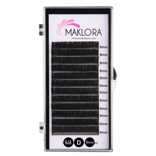 Maklora İpek Kirpik   D Kıvrım 0.15 Kalınlık  9mm uzunluk 12 Sıra